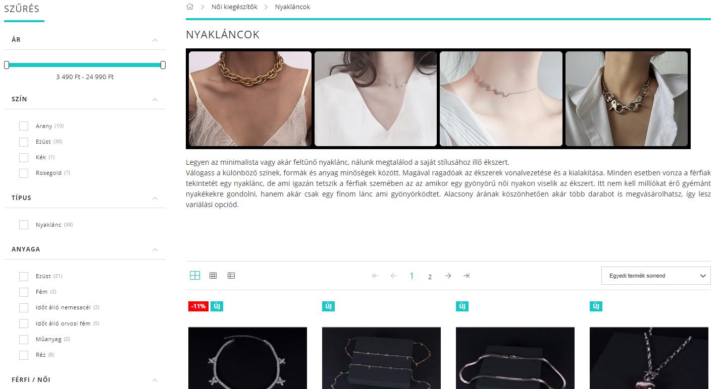 digital iq webáruház átalakítás, webshop szűrő
